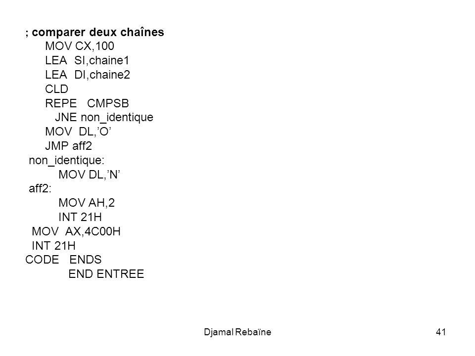 MOV CX,100 LEA SI,chaine1 LEA DI,chaine2 CLD REPE CMPSB
