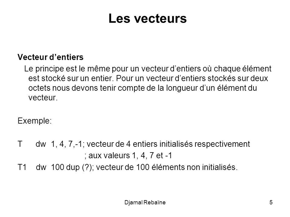 Les vecteurs Vecteur d'entiers