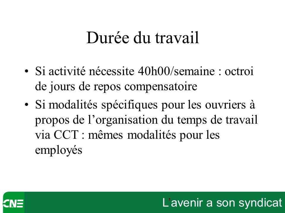 Durée du travail Si activité nécessite 40h00/semaine : octroi de jours de repos compensatoire.