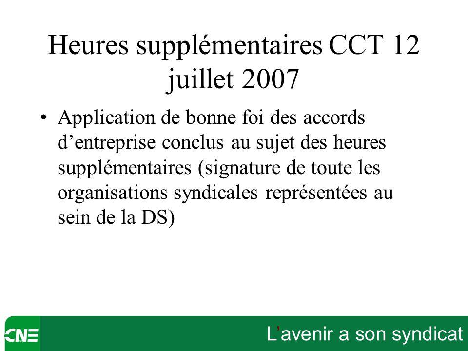 Heures supplémentaires CCT 12 juillet 2007