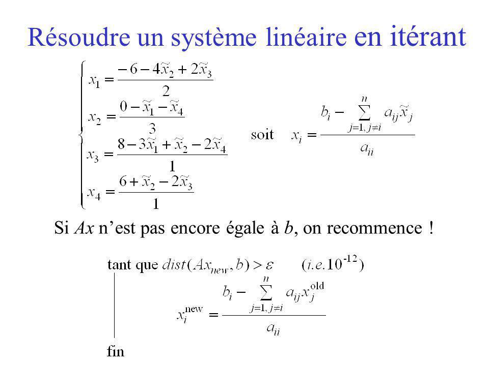 Résoudre un système linéaire en itérant