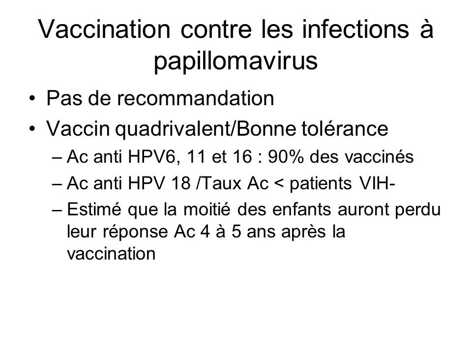 Vaccination contre les infections à papillomavirus