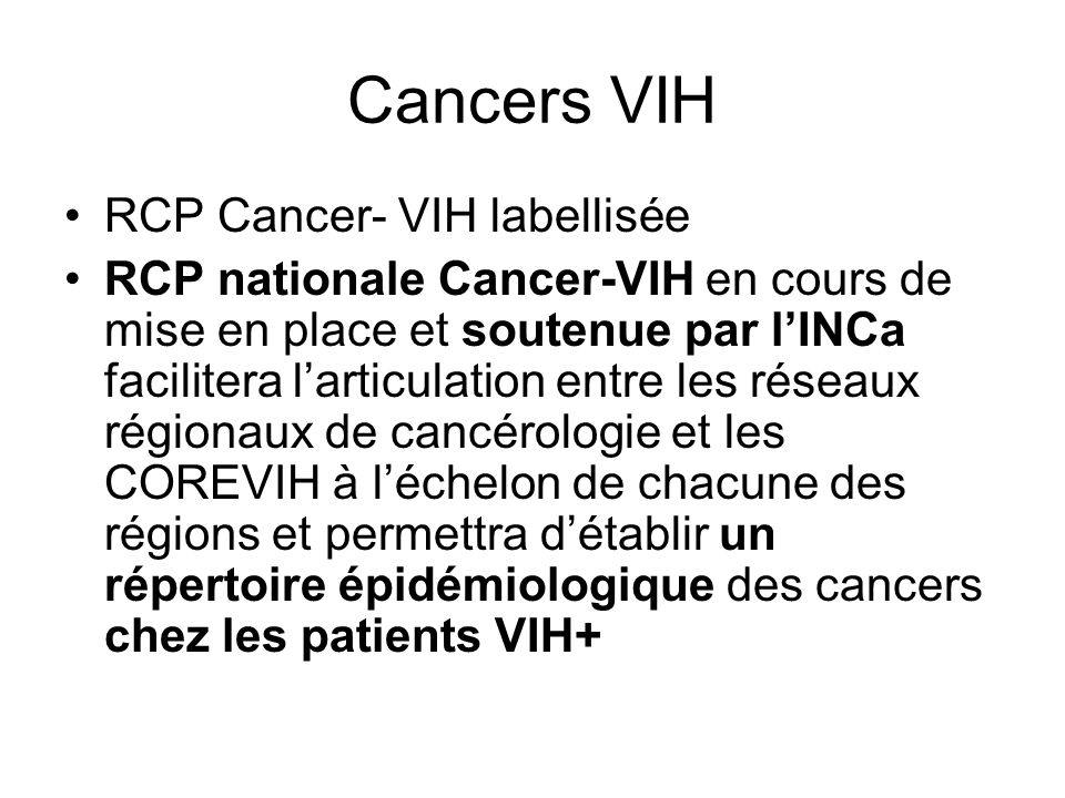 Cancers VIH RCP Cancer- VIH labellisée