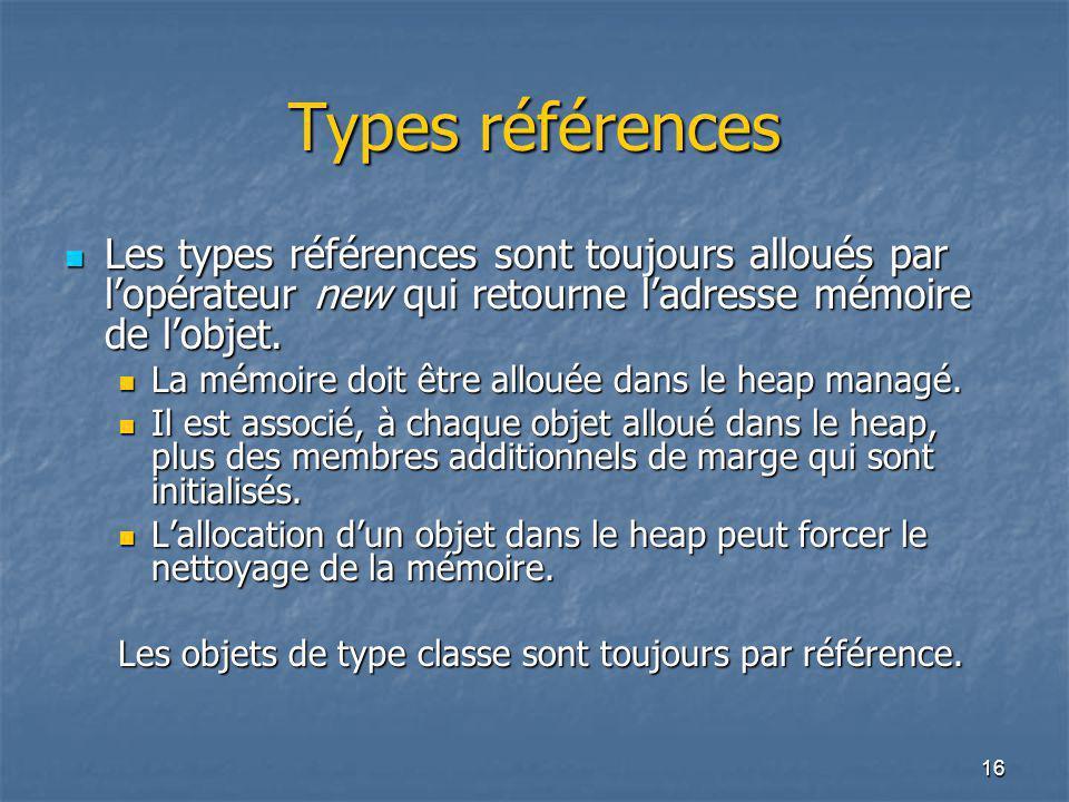 Types références Les types références sont toujours alloués par l'opérateur new qui retourne l'adresse mémoire de l'objet.