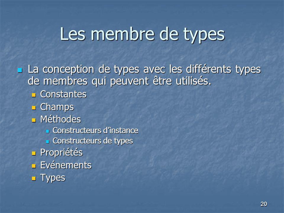 Les membre de types La conception de types avec les différents types de membres qui peuvent être utilisés.
