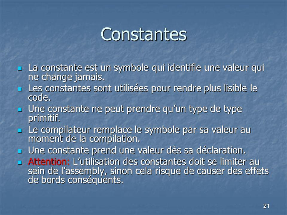 Constantes La constante est un symbole qui identifie une valeur qui ne change jamais.
