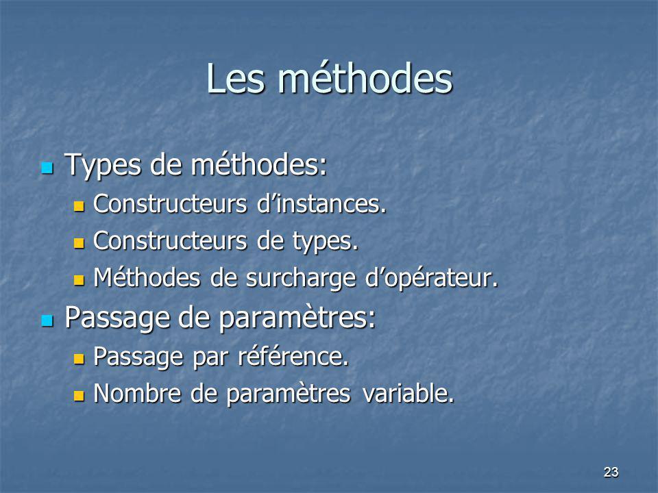 Les méthodes Types de méthodes: Passage de paramètres: