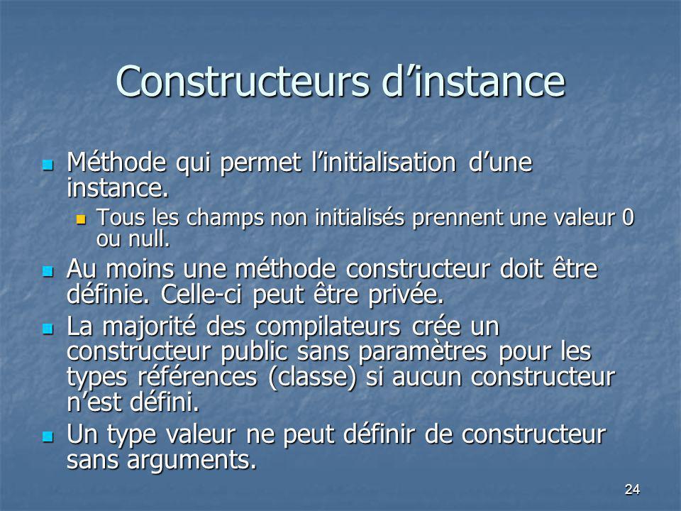 Constructeurs d'instance