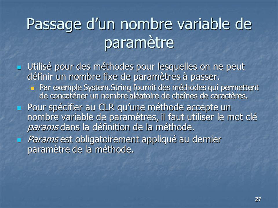 Passage d'un nombre variable de paramètre