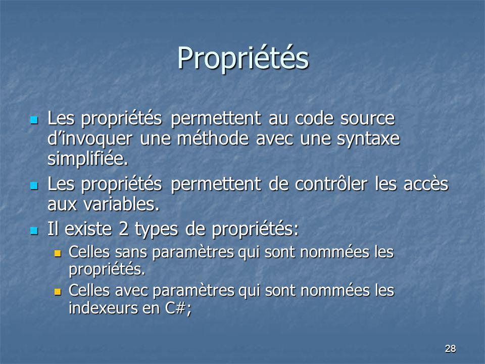 Propriétés Les propriétés permettent au code source d'invoquer une méthode avec une syntaxe simplifiée.