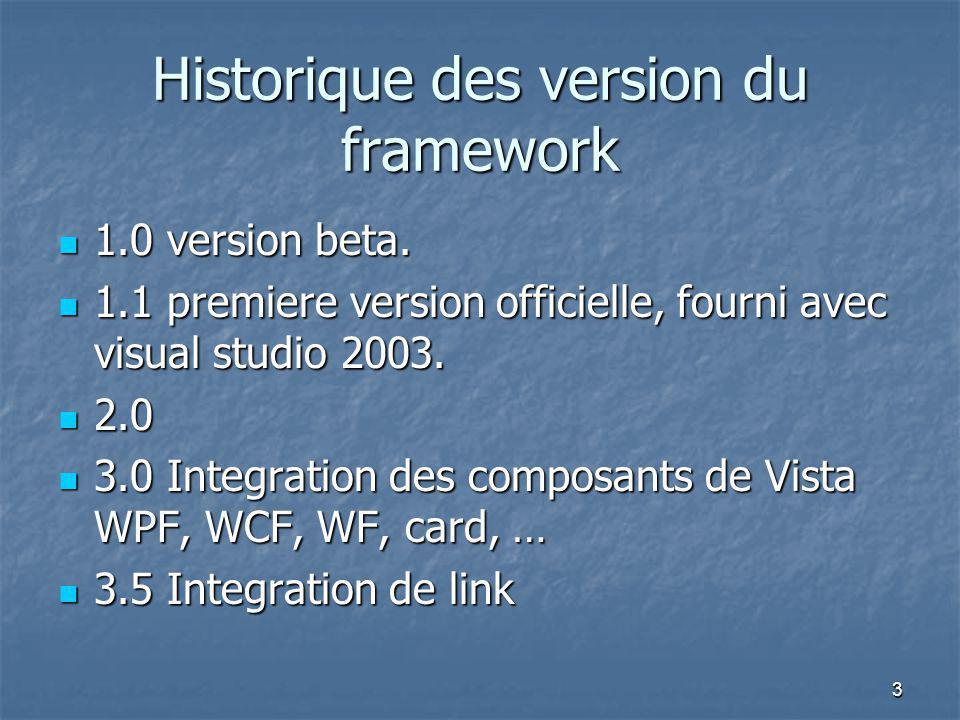 Historique des version du framework