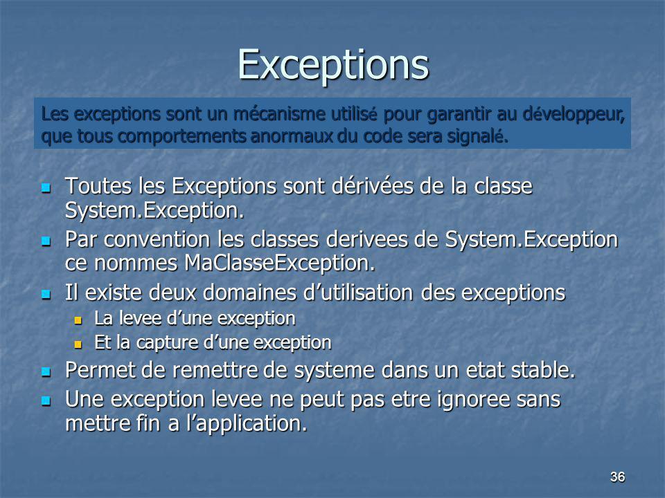 Exceptions Les exceptions sont un mécanisme utilisé pour garantir au développeur, que tous comportements anormaux du code sera signalé.