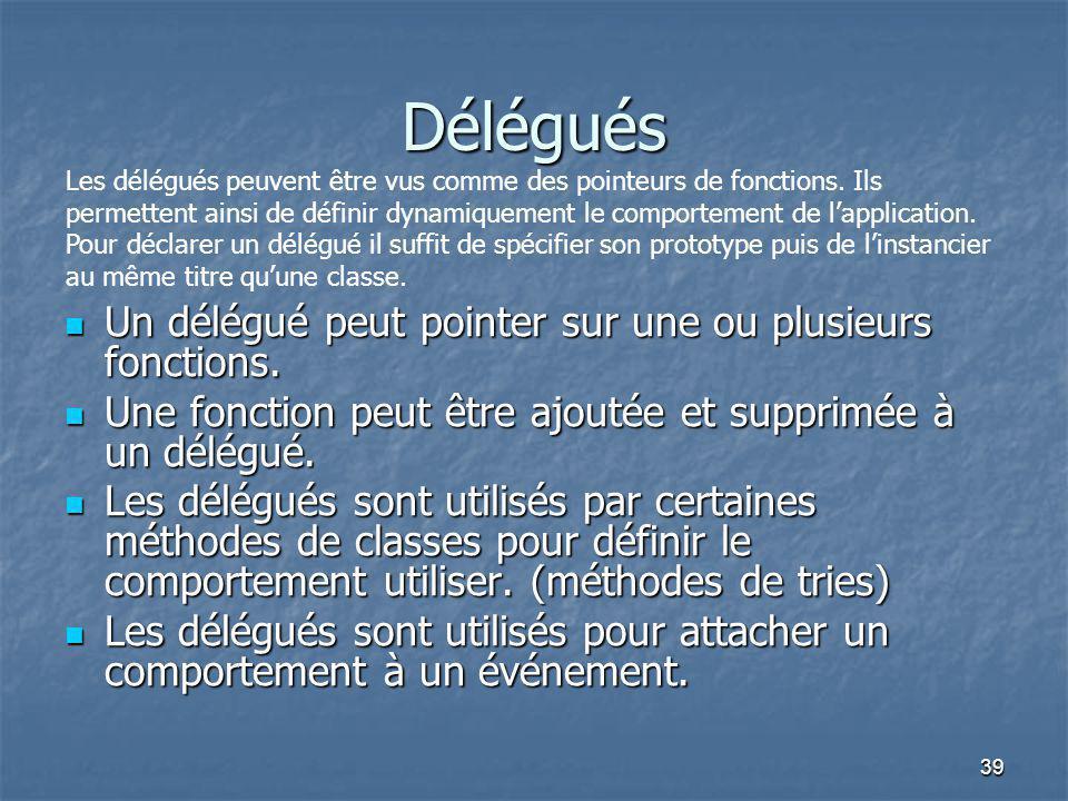 Délégués Un délégué peut pointer sur une ou plusieurs fonctions.