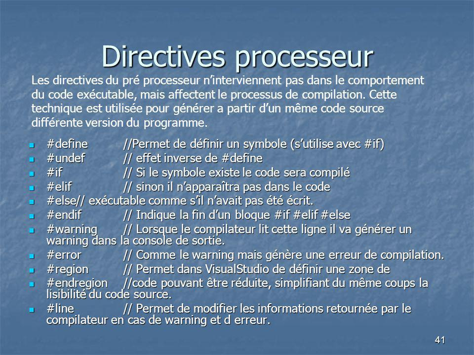 Directives processeur