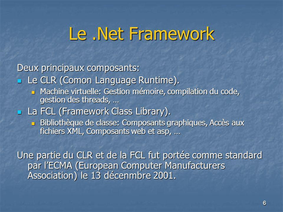 Le .Net Framework Deux principaux composants: