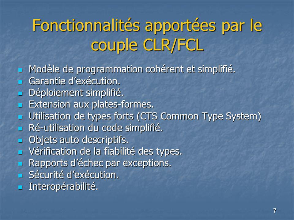 Fonctionnalités apportées par le couple CLR/FCL