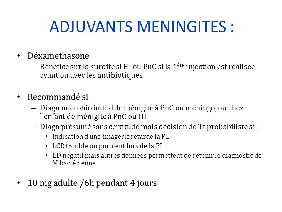 ADJUVANTS MENINGITES :