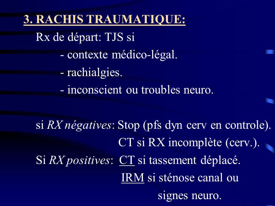3. RACHIS TRAUMATIQUE: Rx de départ: TJS si. - contexte médico-légal. - rachialgies. - inconscient ou troubles neuro.