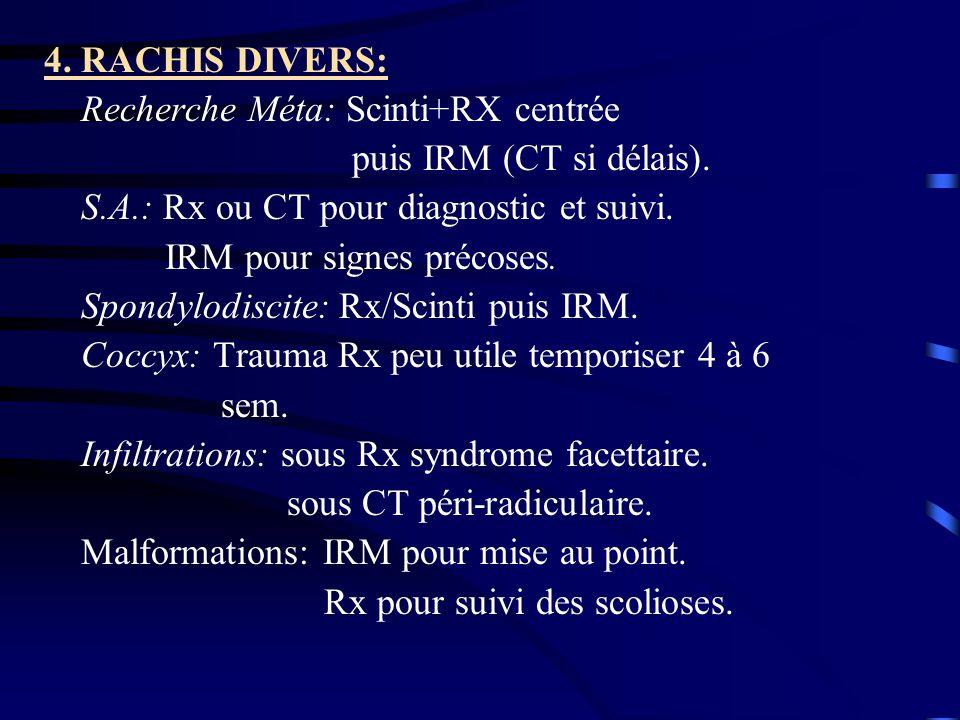 4. RACHIS DIVERS: Recherche Méta: Scinti+RX centrée. puis IRM (CT si délais). S.A.: Rx ou CT pour diagnostic et suivi.