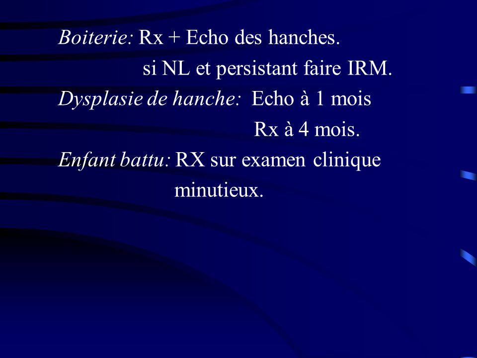 Boiterie: Rx + Echo des hanches.