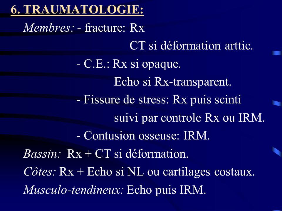 6. TRAUMATOLOGIE: Membres: - fracture: Rx. CT si déformation arttic. - C.E.: Rx si opaque. Echo si Rx-transparent.