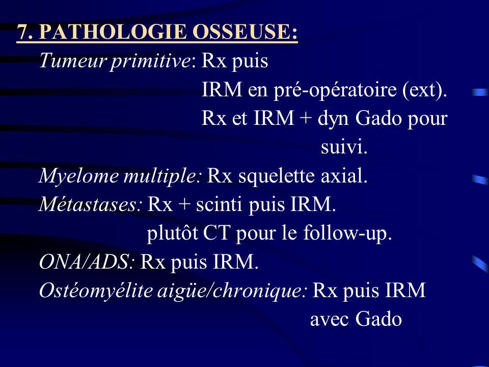7. PATHOLOGIE OSSEUSE: Tumeur primitive: Rx puis. IRM en pré-opératoire (ext). Rx et IRM + dyn Gado pour.