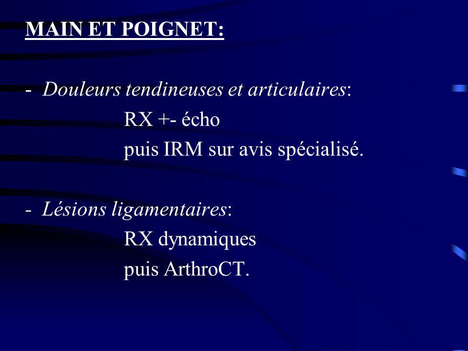 MAIN ET POIGNET: Douleurs tendineuses et articulaires: RX +- écho. puis IRM sur avis spécialisé. - Lésions ligamentaires:
