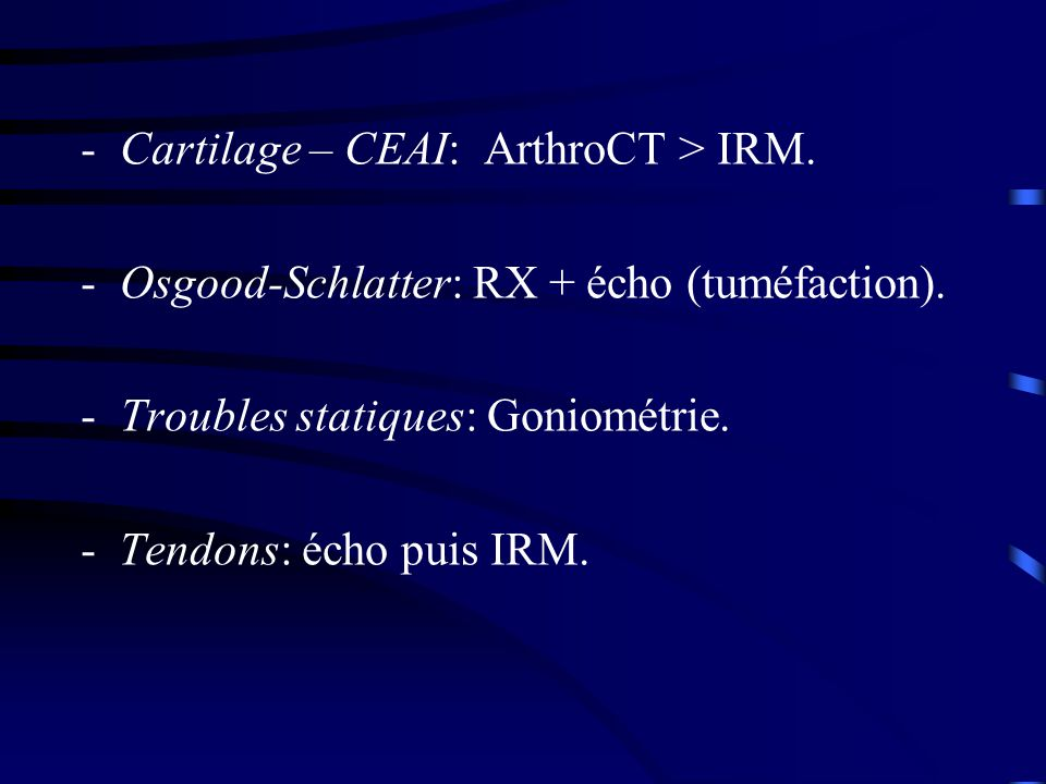 Cartilage – CEAI: ArthroCT > IRM.