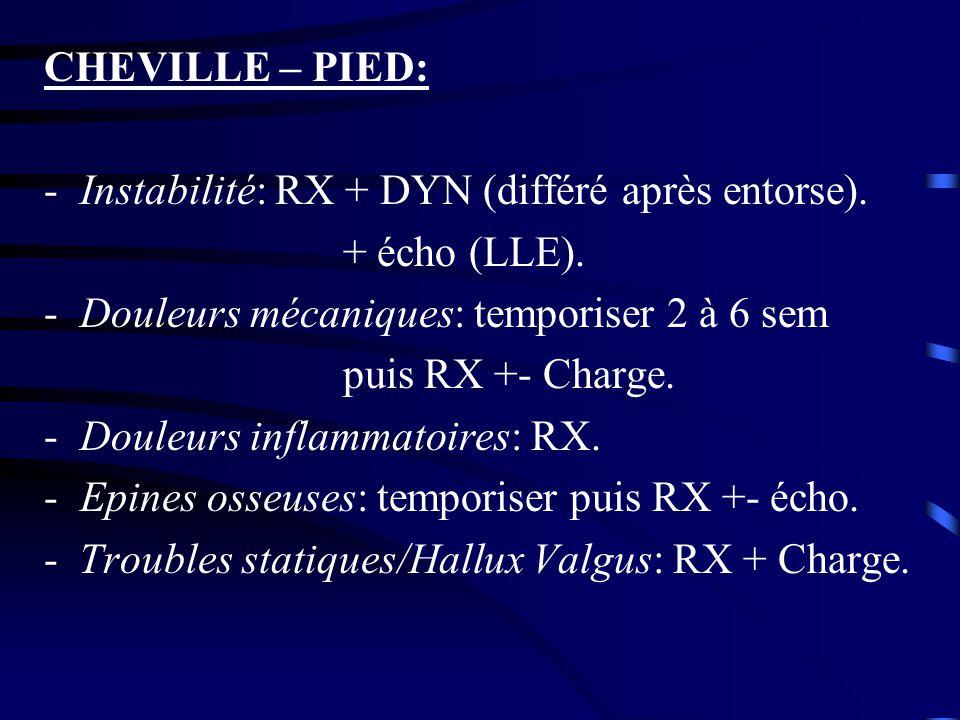 CHEVILLE – PIED: Instabilité: RX + DYN (différé après entorse). + écho (LLE). Douleurs mécaniques: temporiser 2 à 6 sem.
