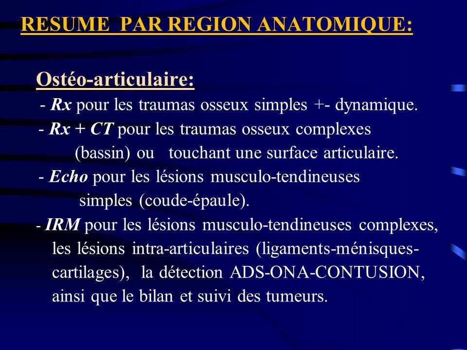 RESUME PAR REGION ANATOMIQUE: Ostéo-articulaire: