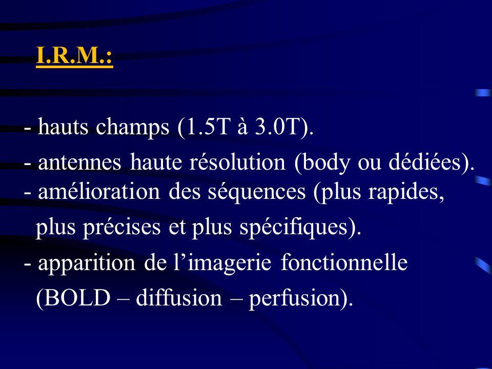 I.R.M.: - hauts champs (1.5T à 3.0T). - antennes haute résolution (body ou dédiées). - amélioration des séquences (plus rapides,