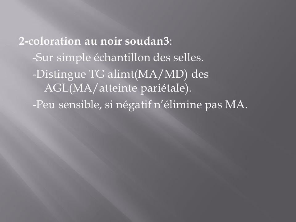 2-coloration au noir soudan3: -Sur simple échantillon des selles