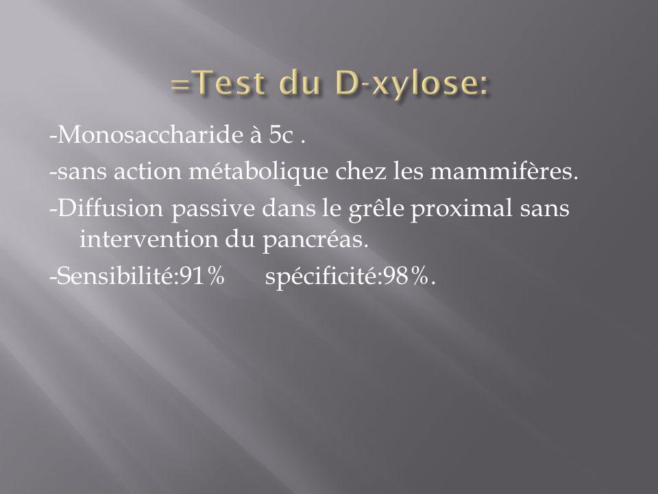 =Test du D-xylose: -Monosaccharide à 5c .