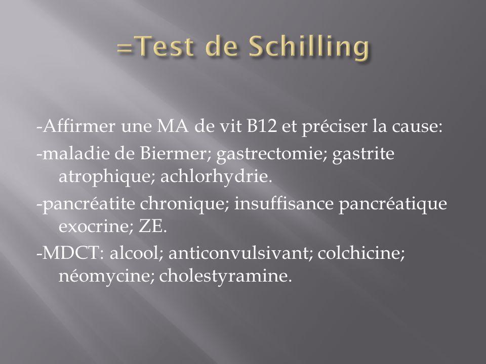 =Test de Schilling -Affirmer une MA de vit B12 et préciser la cause: