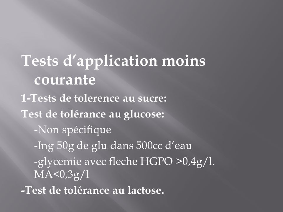 Tests d'application moins courante