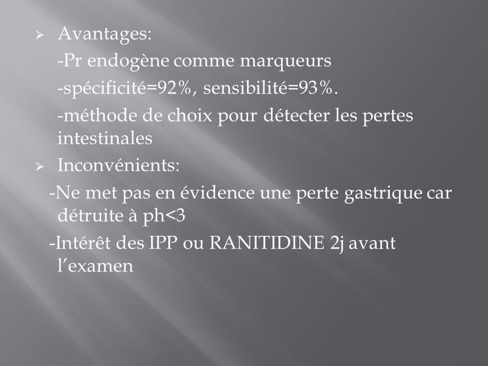 Avantages: -Pr endogène comme marqueurs. -spécificité=92%, sensibilité=93%. -méthode de choix pour détecter les pertes intestinales.