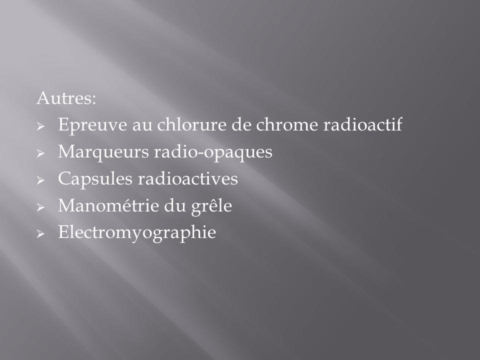 Autres: Epreuve au chlorure de chrome radioactif. Marqueurs radio-opaques. Capsules radioactives.