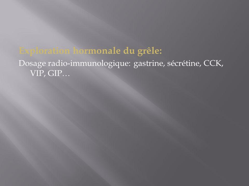 Exploration hormonale du grêle: