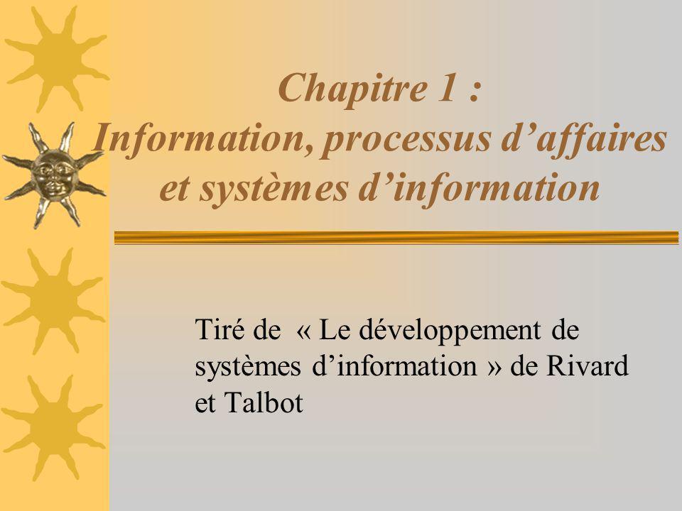 Chapitre 1 : Information, processus d'affaires et systèmes d'information