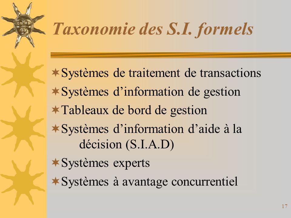 Taxonomie des S.I. formels