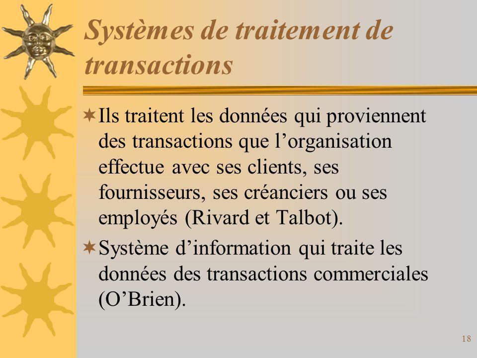 Systèmes de traitement de transactions