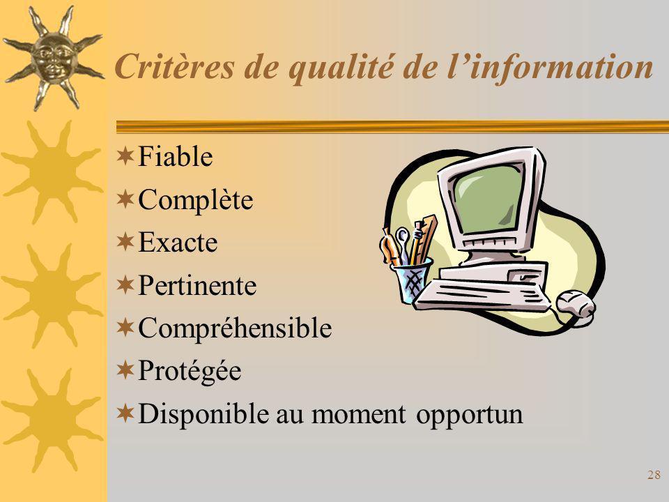 Critères de qualité de l'information