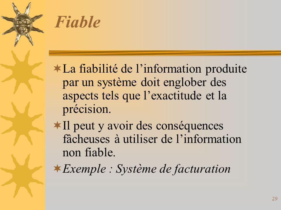 Fiable La fiabilité de l'information produite par un système doit englober des aspects tels que l'exactitude et la précision.