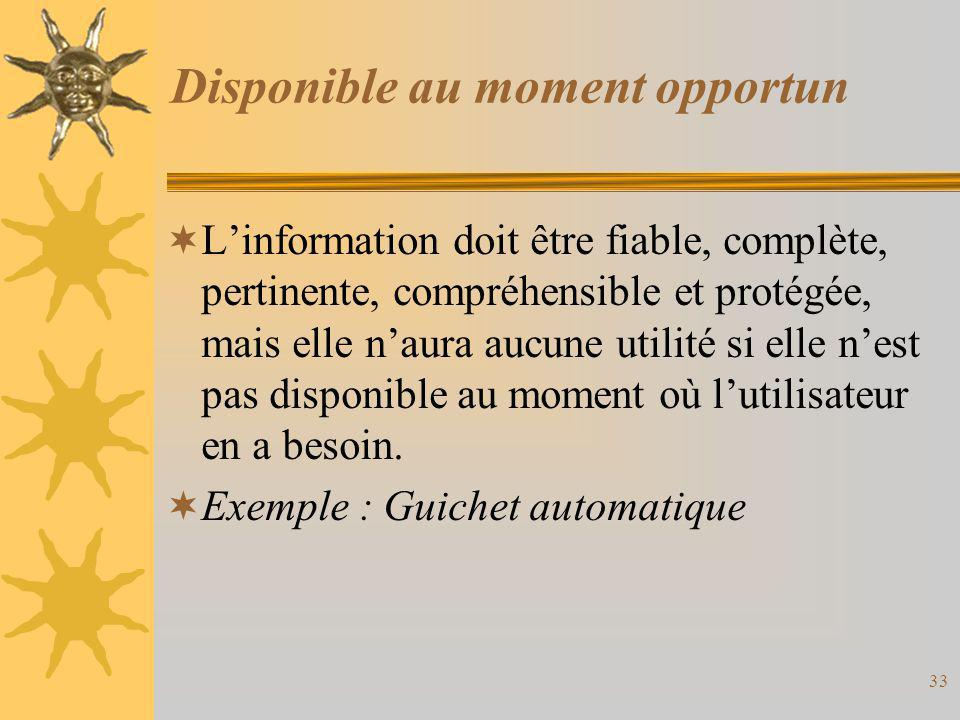 Disponible au moment opportun