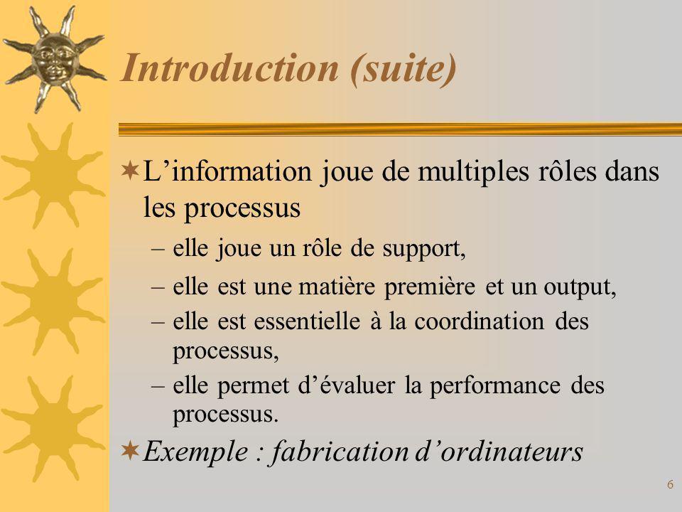 Introduction (suite) L'information joue de multiples rôles dans les processus. elle joue un rôle de support,
