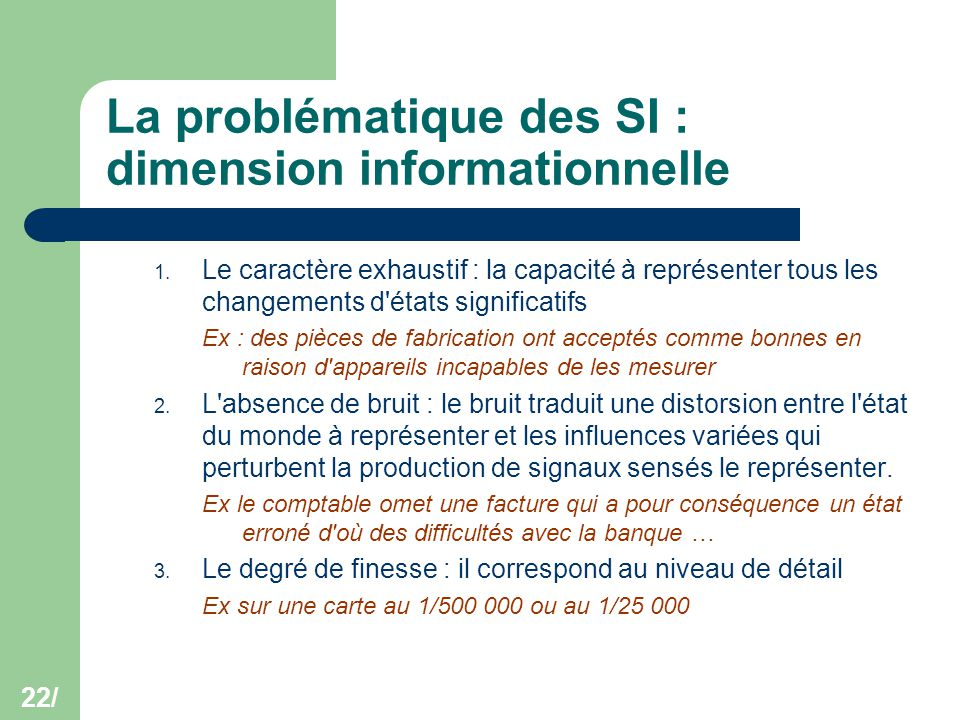La problématique des SI : dimension informationnelle