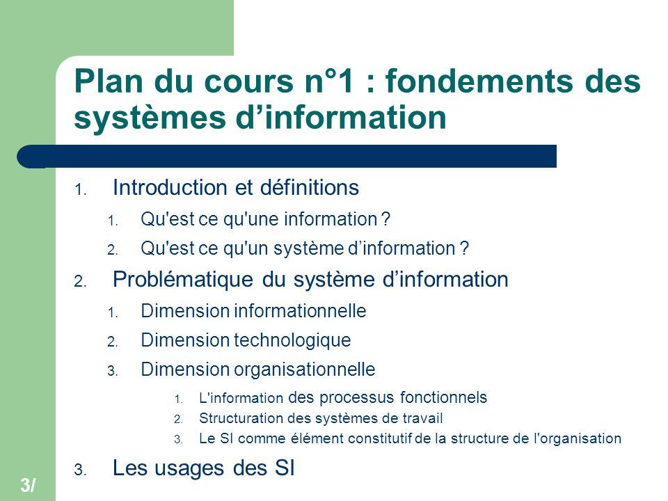 Plan du cours n°1 : fondements des systèmes d'information