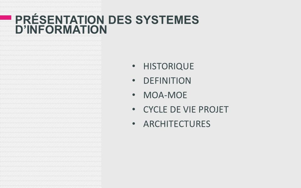 Présentation des systemes d'information
