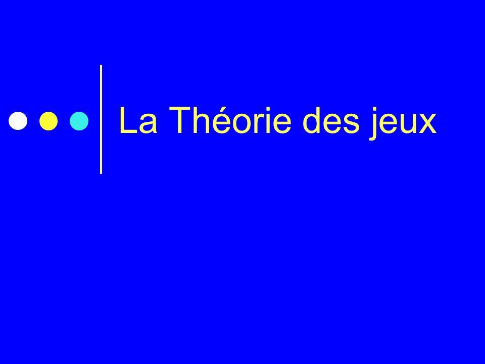 La Théorie des jeux Donner l'objectif du cours : La question que l'on va se poser est :