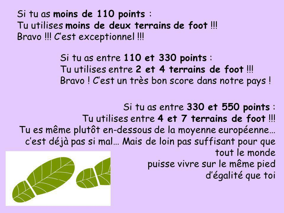 Si tu as moins de 110 points :